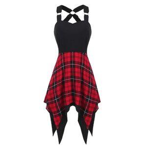Dresses & Skirts - Cross Back Plaid High Low Sweet Heart Dress
